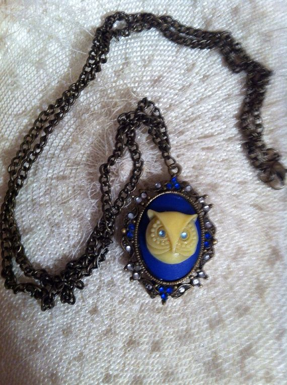 Hoo hoo Antiqued OWL Cameo Necklace on Etsy, $23.00