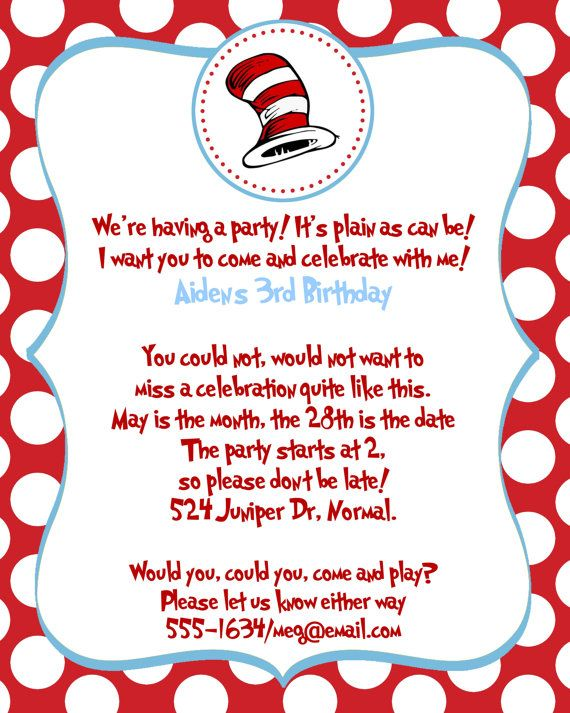 145 best images about DIYDr Seussfree printablesparty ideas on – Cat in the Hat Party Invitations