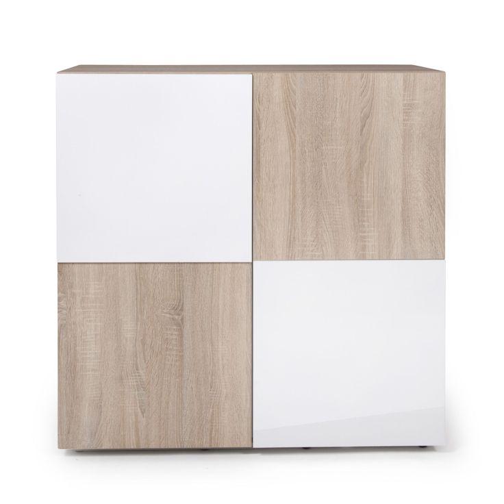 Meuble 2 portes / buffet design scandinave Chêne/blanc - Checker - Les buffets - Buffets et vaisseliers - Salon et salle à manger - Décoration d'intérieur - Alinéa
