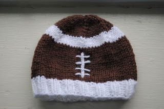 Knit Pattern Baby Football Hat : Baby Football Hat - might have to get really stretchy yarn since I have a big...
