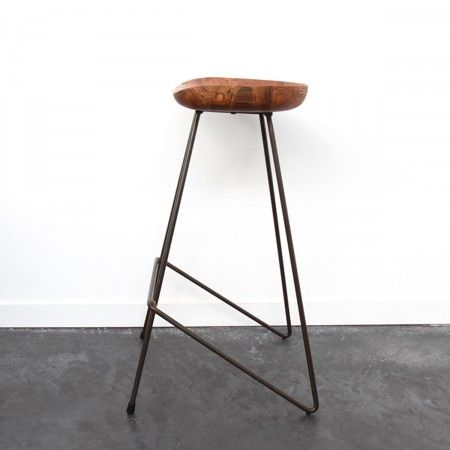 Tabouret métal bois vintage Winton