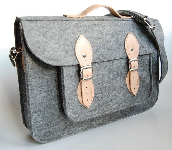MacBook Pro 15 inch bag , satchel, Laptop bag, case, felt messenger bag with leather straps and belt shoulder