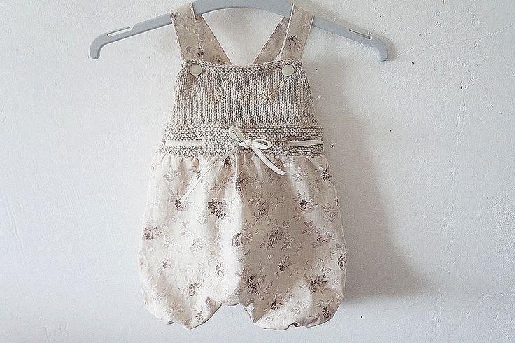 Salopette-bloomer fille, vintage chic beige, 0-3 mois. : Mode Bébé par hazaliwa