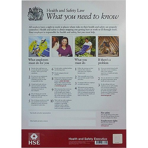 Health And Safety Law Poster in 2020 | Health and safety ...
