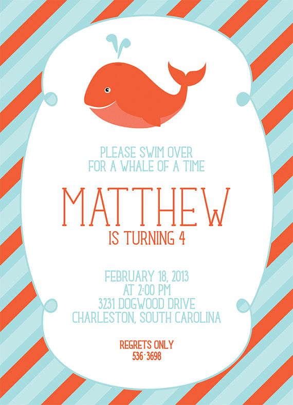 Whale Party  15 Printed Invitations by cranberrydesign on Etsy, $20.00