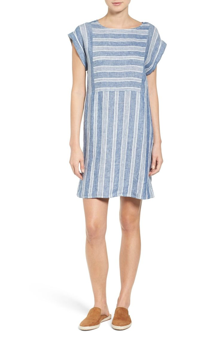 Caslon® Stripe Linen Shift Dress (Regular