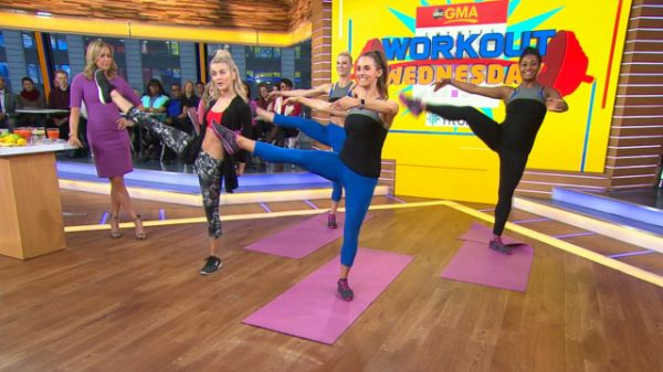 """""""We do lots of mat work, body-weight moves and free weights,"""" Hough told """"Good Morning America."""" """"The trampoline cardio might sound crazy, but it's a great low-impact option. Hough, a Fitbit ambassador, is bringing Body by Simone's full-body workout to a special live stream on ABCNews.com/live and the GMA Facebook page on Wednesday, Jan. 4 at 8 a.m. ET."""