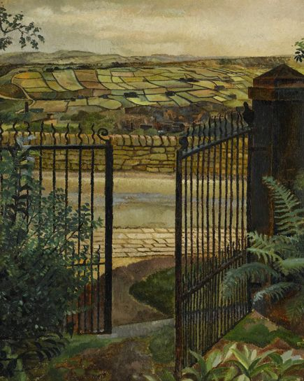A Gate, Yorkshire - Sir Stanley Spencer ca.1928 British 1891-1959 Oil on canvas 20 × 16 in (51 × 40.5 cm)