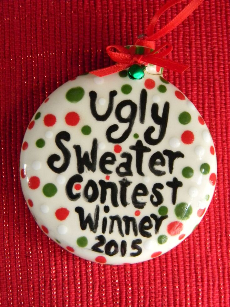 Ugly Sweater Contest WINNER Christmas  Ceramic Ornament   Award for the Awful Sweater Office Christmas party 2015 by EnchantdMushroomLand on Etsy