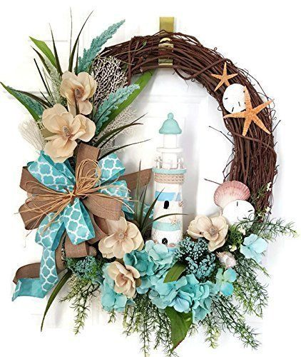 Lighthouse Coastal Wreath, Seashell Wreath, Summer Wreath, Lighthouse Wreath, Grapevine Beach Wreath