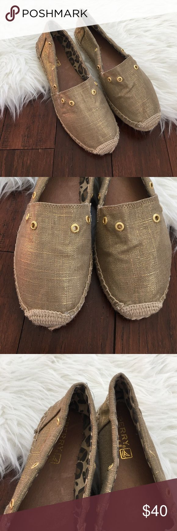 Sperry Top Sider Gold Metallic Espadrille Flats Excellent condition. Only worn out one time. Fabric upper. Leather insoles. Absolutely perfect for summer! Sperry Top-Sider Shoes Espadrilles