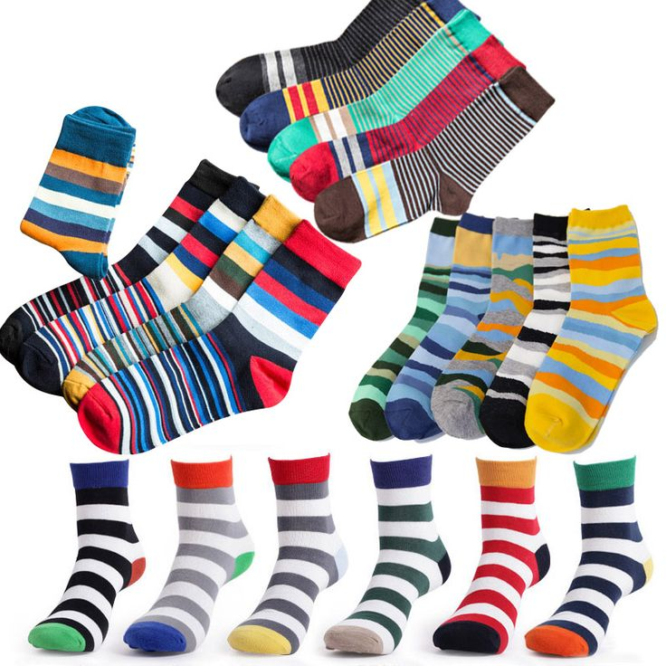 6 pairs/lot and 5 pairs/lot Brand Cotton Men Socks Vintage Male Striped Colorful Socks Summer Refreshing Socks Happy Design