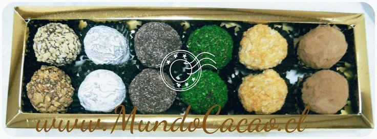 Caja con 12 deliciosas trufas de colores