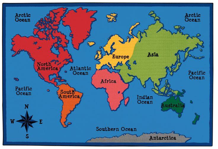 World Map Kids Rug