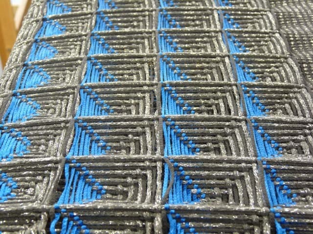 woven optical illusion honeycomb still stretched on the loom - Lydia Williams