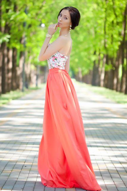 Coral and floral maxi dress. www.ZaZumi.com