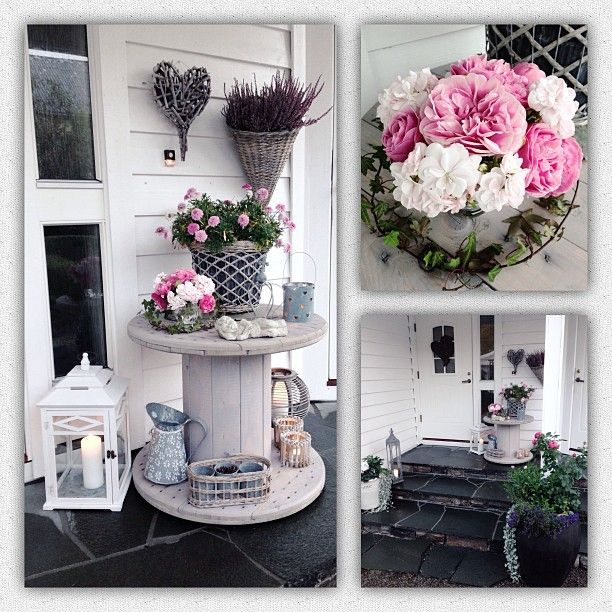 #Hauseingang #Kabelrolle #Laterne #Blumen #Rosa #Shabby #Deko Copyright by @tovemfh // Instagram
