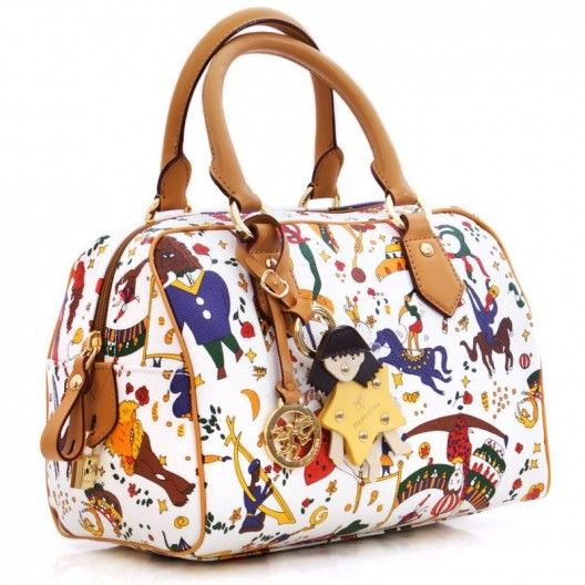 PIERO GUIDI BAG MAGIC CIRCUS WHITE 2167E4088 Piero Guidi White Satchel in Magic Circus embossed fabric, metal finishings, genuine leather trimmings, two handles, internal Multiangel lining with pocket and mobile holder, zipper fastening. Size: 25x18x15cm #pieroguidi #bag #handbag