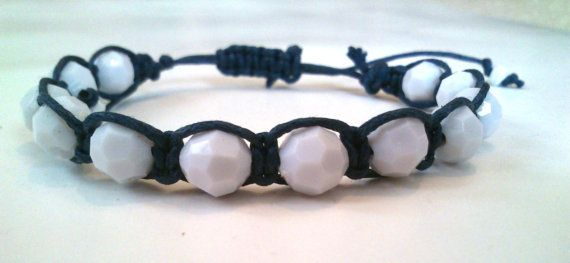 bracelet with big polygonal beads and waxed by KleopatrasCreations