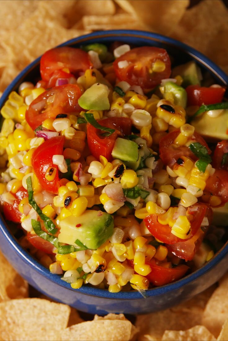 Grilled Corn Salsa  With tangy lime and sweet basil, this grilled corn salsa couldn't be more perfect for summer.  Get the recipe from Delish.  GRILLING MADE EASY: Lodge Cast Iron Grill Pan, $43; amazon.com.