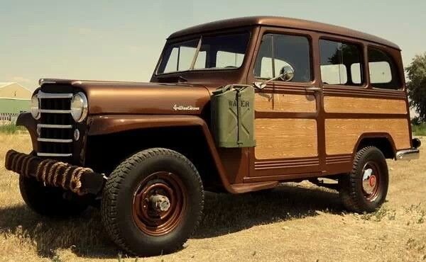 51 willys overland wagon brown woodgrain jerry can chrome old school cool willys wagons. Black Bedroom Furniture Sets. Home Design Ideas