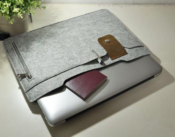 """13"""" Macbook sleeve , Felt 13"""" Macbook Air sleeve , 13"""" macbook pro case , Laptop sleeve for 13in Macbook case --U601"""