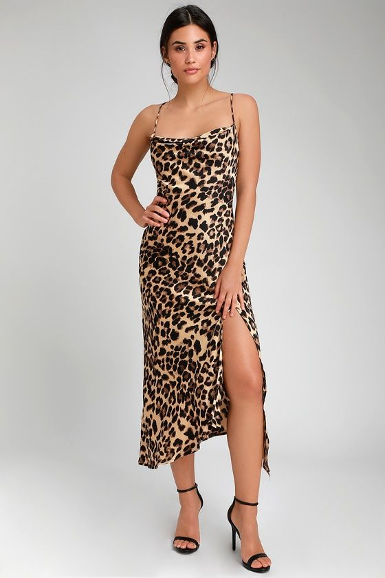 87a9bcf02261 Catch their eye as you slink by in the ASTR the Label Fayette Leopard Print  Cowl Neck Midi Dress! Satiny leopard print midi dress with cowl neck and  side ...