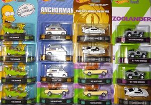 Hot Wheels Retro Entertainment BDT77 E 2014 Hollywood TV Series Movies 1:64 Scale diecast James Bond Lotus Sub 4x4 Bronco Zoolander Anchorman Van Simpsons Cartoon Homer And 90210 1965 Mustang Rear Riders 16 Ct Factory Sealed Case