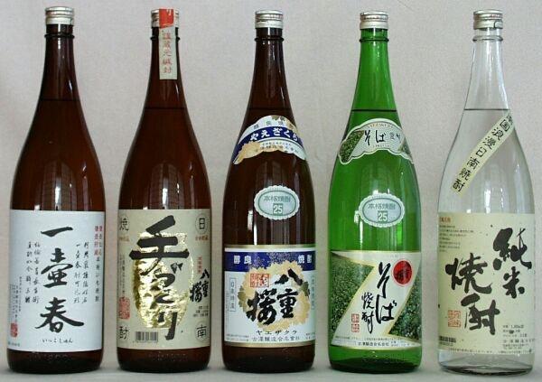 焼酎 - shouchu  Japanese vodka   Made from buckwheat, rice, potato, all different materials.  Unlike Japanese sake, these shouchu liquors don't give you much hangover!