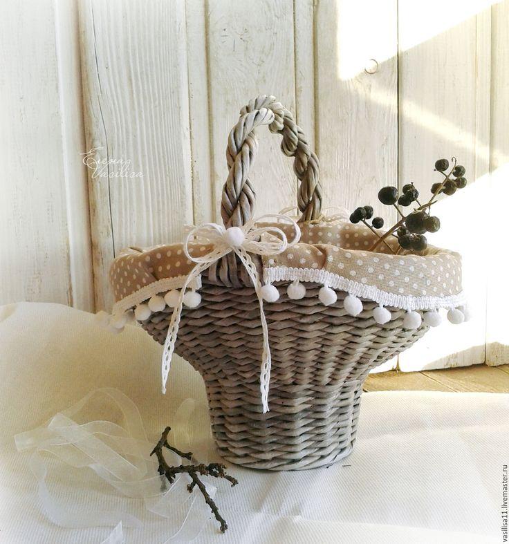 Купить Корзиночка 'Умиление' плетеная с текстильным декором - состаренная, винтажная корзинка, серая, Корзиночка для мелочей