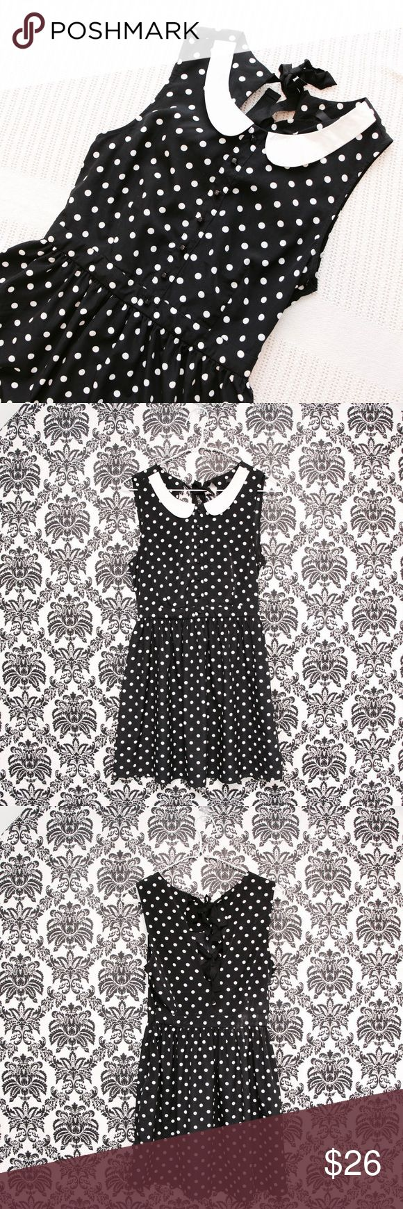Forever 21 Polka Dot Dress Black & white polka dot dress from Forever 21, NWOT!! Tried on but never worn. Cute Peter Pan collar with ribbon ties in the back. Zips up on the side. Great flowy material, very flattering on! Goes great with a pair of polka dot shoes in my closet 😉 Bundle to save!! Forever 21 Dresses