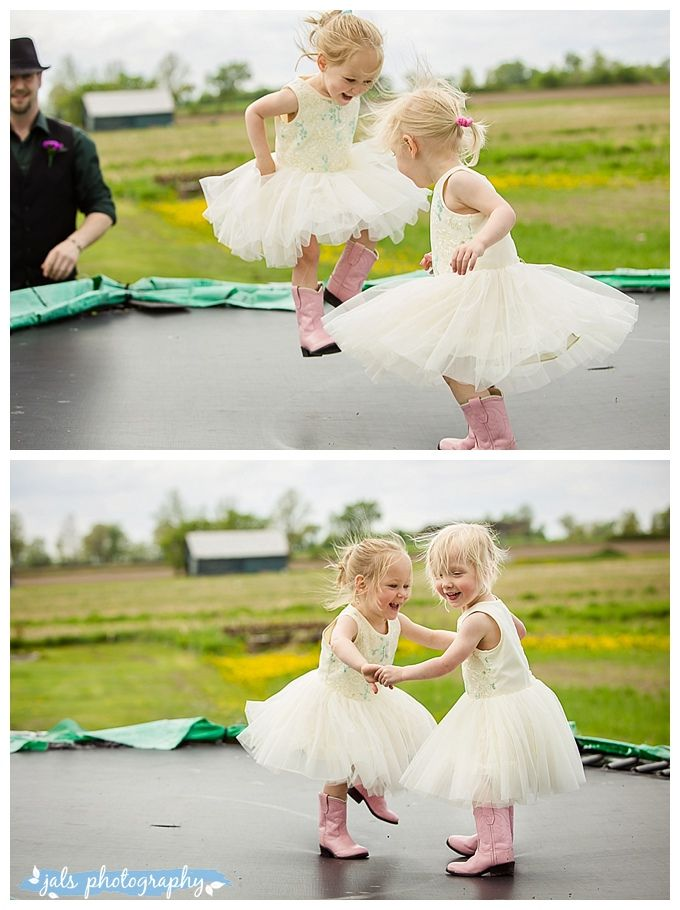 flower girls, twin girls with pink cowboy boots