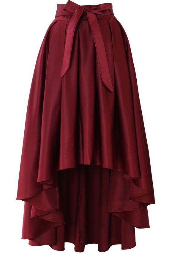 Wine Red Bow High Low Pleated Skirt US$33.33