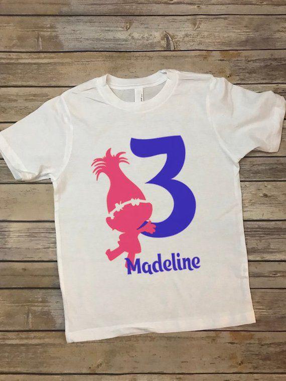 Poppy Trolls Birthday T Shirt Kids Bday Custom With Age
