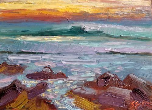 "Daily Paintworks - ""Pacific Coast Sunset"" - Original Fine Art for Sale - © Sandra Smith Dugan."