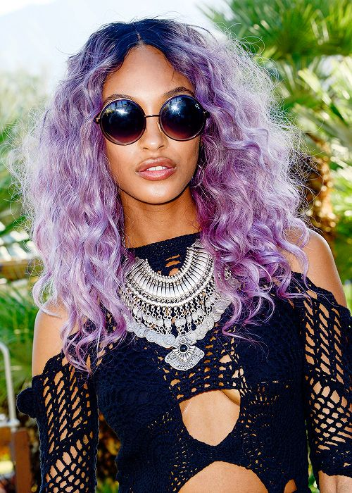 lilac pastel curly hair colored