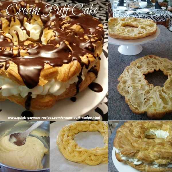 Cream Puff Cake -- easy enough for little kids to help you. http://www.quick-german-recipes.com/cream-puff-recipe.html