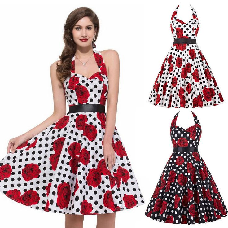 Vintage Womens 50s 60s Retro Floral Rockabilly Pinup Housewife Party Swing Dress #Unbranded #BallGown #Cocktail