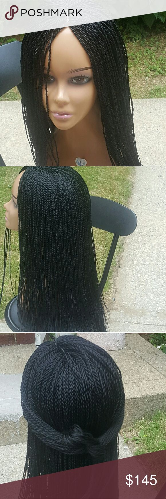 "Handmade Senegalese twist wig Handmade African Braided wig  This braided wigs perfectly for anyone that don't want to sit for long at the hairdresser. Wig can be shifted to accommodate both center of side part. Contains wig hook  Lightweight  Hair length: 24"" Color: black Other"