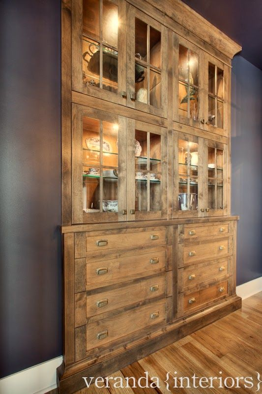 Built In China Cabinet Look At Contrast Wood Inside The