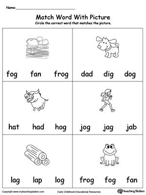 **FREE** Match Word with Picture: OG Words Worksheet.Topics: Word Families, Reading, and Phonics.