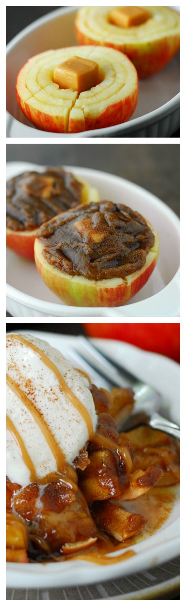 Blooming  Baked Apple 2 Honeycrisp apples (or other crisp apples) 2 tbsp butter 3 tbsp brown sugar, packed 1 tbsp flour 1 tsp cinnamon 4 caramels, unwrapped Optional toppings: vanilla ice cream, caramel sauce and cinnamon