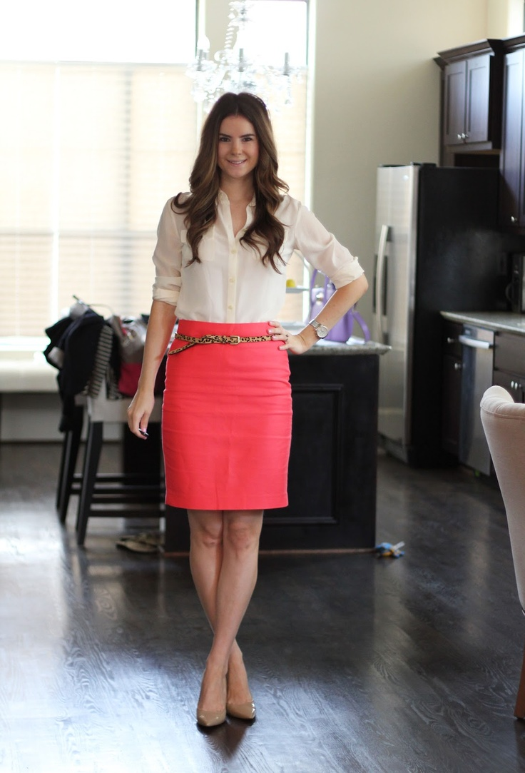 J Crew melon pencil skirt - this melon, coral, colour is so in at the moment, ready for summer! // I have this melon and grey striped skirt that I couldn't figure out how to style. This is perfect!