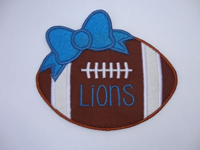 Lions Football Iron On Patch, Football Patch, Personalized Football by JALittleSparkle on Etsy