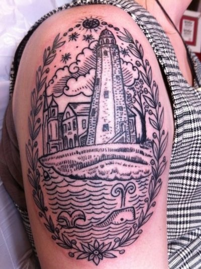 This is my second tattoo. Its a sort of scrimshaw and antique engraving mix. For me it represents many things including my enthusiasm for history and the history of New England in particular, my sense of belonging to an amazing community in Portland, my appreciation for tradition and civic participation, and an emotional connection with the sea as a place of renewal. The buildings in the center are based on a late nineteenth-century post card depicting the Portland Observatory, the old Fire…