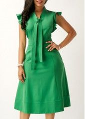 Green High Waist Tie Neck Pocket Dress | Rosewe.com - USD $33.23
