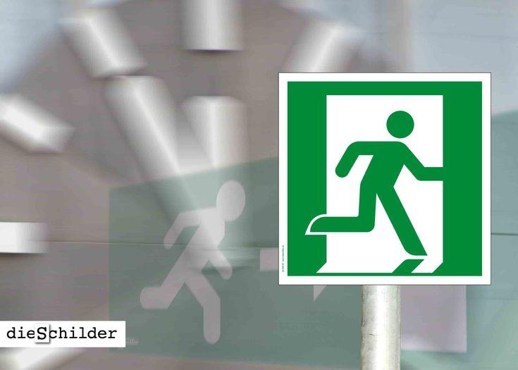 Rettungsschild oder Aufkleber Notausgang rechts (neue Norm) zur Kennzeichnung von Fluchtwegen. Größen: ab 150 x 150 mm – mit UV/Antigraffiti-Schutzlackierung (nur Schilder). Ausführung in weiß oder lang nachleuchtend. #rettungsschild #rettung #notausgang #notausgangsschilder #notausgangsschild #fluchtweg #fluchtwegschild #rettungszeichen #fluchtwegbeschilderung #fluchtwegkennzeichnung #warnschilder #rettungswege #fluchttür #rettungswegschilder