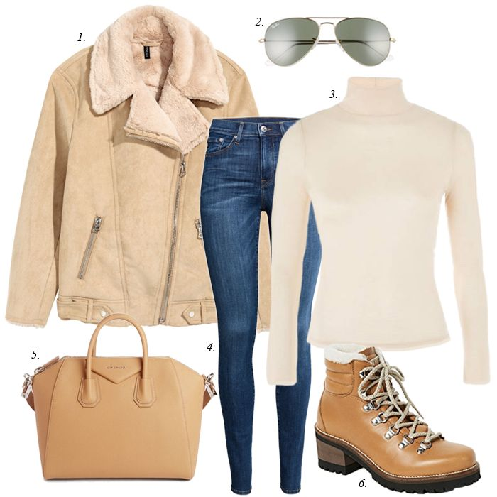 create a cozy winter outfit, sahm, how to style a sherpa jacket, how to wear hiking boots, creating a capsule wardrobe collection