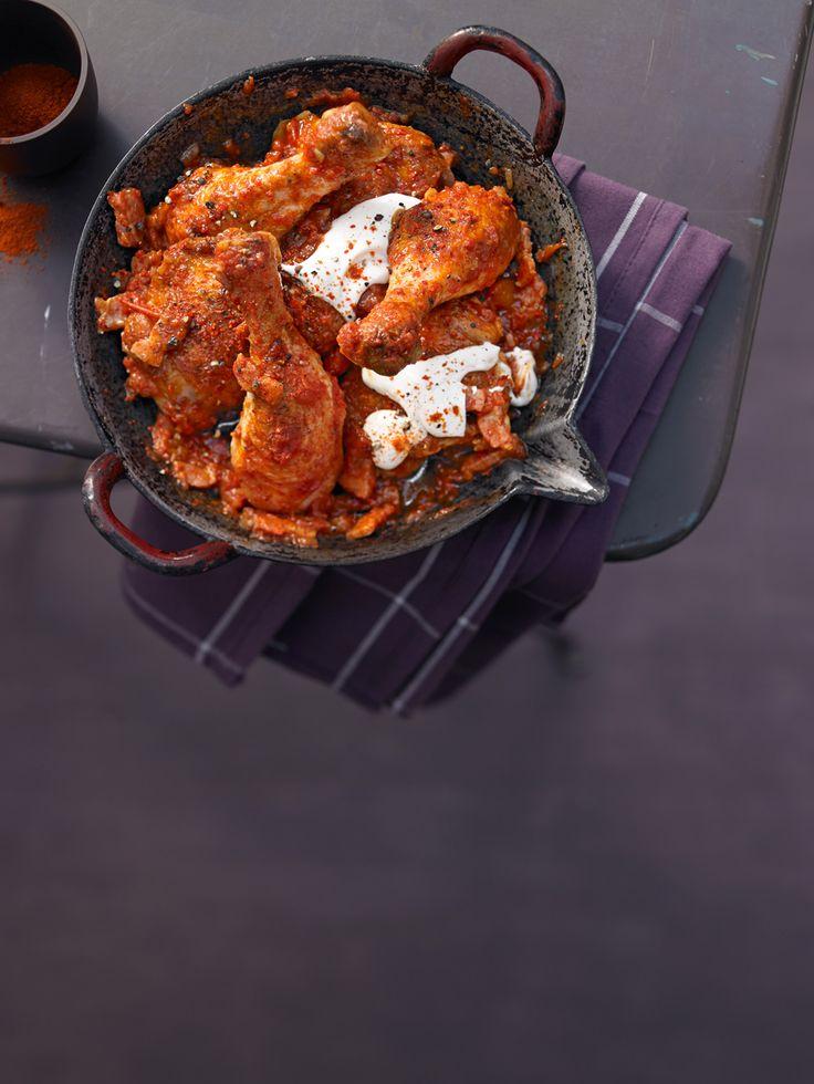Paprika - Hähnchen mit Speck und Paprika