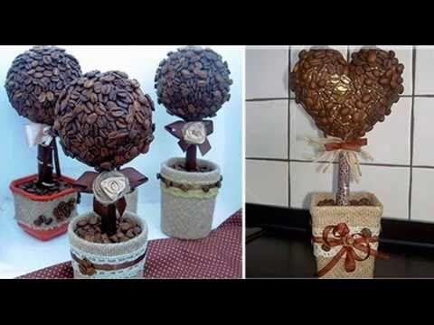 Топиарий из кофейных зерен – кофейное сердце, дерево ( идеи)